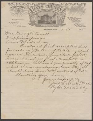 [Letter from Jas W. Turner to Georgia Cavett, July 21, 1915]