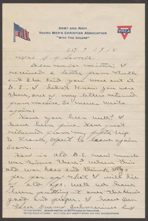 [Letter to Mittie Sorrell, October 9, 1918]