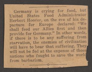 [Clipping: German Food Crisis]