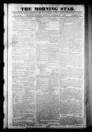 Primary view of The Morning Star. (Houston, Tex.), Vol. 2, No. 111, Ed. 1 Thursday, October 22, 1840
