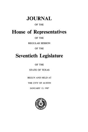 Primary view of object titled 'Journal of the House of Representatives of the Regular Session of the Seventieth Legislature of the State of Texas, Volume 3'.