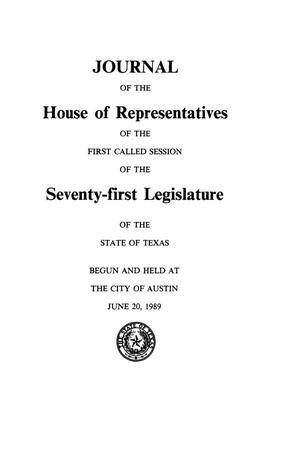 Journal of the House of Representatives of the First Called Session of the Seventy-First Legislature of the State of Texas, Volume 5