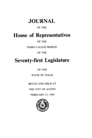 Journal of the House of Representatives of the Third Called Session of the Seventy-First Legislature of the State of Texas, Volume 6