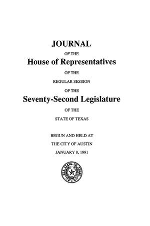 Journal of the House of Representatives of the Regular Session of the Seventy-Second Legislature of the State of Texas, Volume 1
