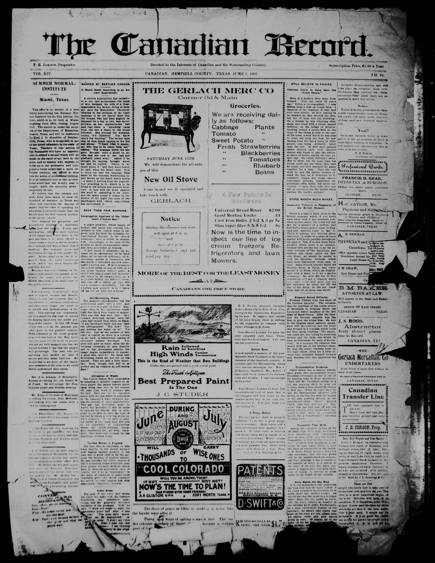 The Canadian Record (Canadian, Tex.), Vol. 14, No. 22, Ed. 1  Saturday, June 1, 1907                                                                                                      [Sequence #]: 1 of 4