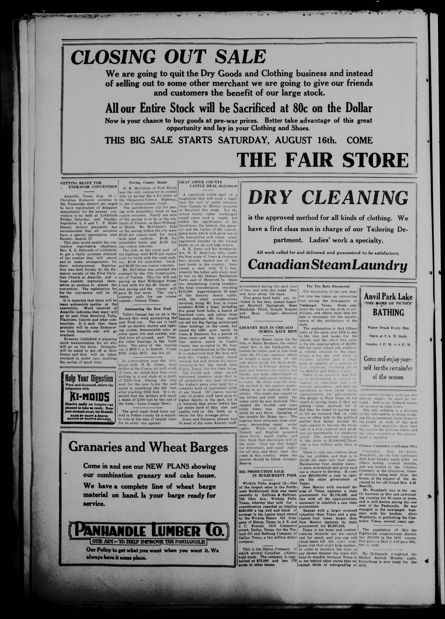 The Canadian Record (Canadian, Tex.), Vol. 26, No. 45, Ed. 1  Thursday, August 14, 1919                                                                                                      [Sequence #]: 2 of 8