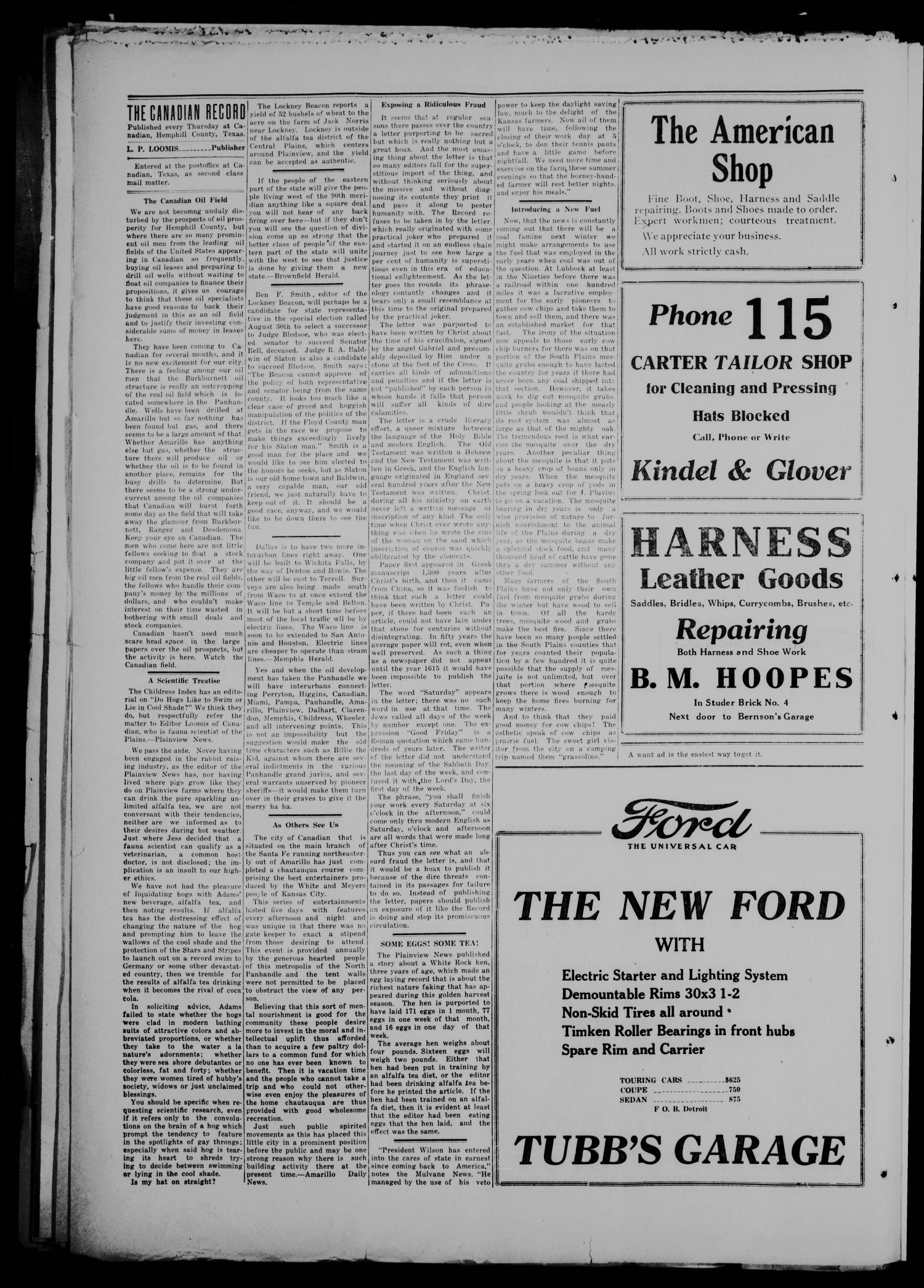 The Canadian Record (Canadian, Tex.), Vol. 26, No. 45, Ed. 1  Thursday, August 14, 1919                                                                                                      [Sequence #]: 4 of 8