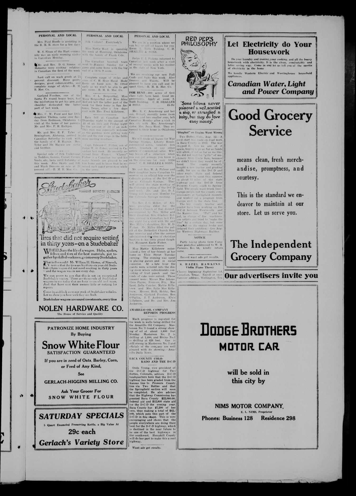 The Canadian Record (Canadian, Tex.), Vol. 26, No. 45, Ed. 1  Thursday, August 14, 1919                                                                                                      [Sequence #]: 5 of 8
