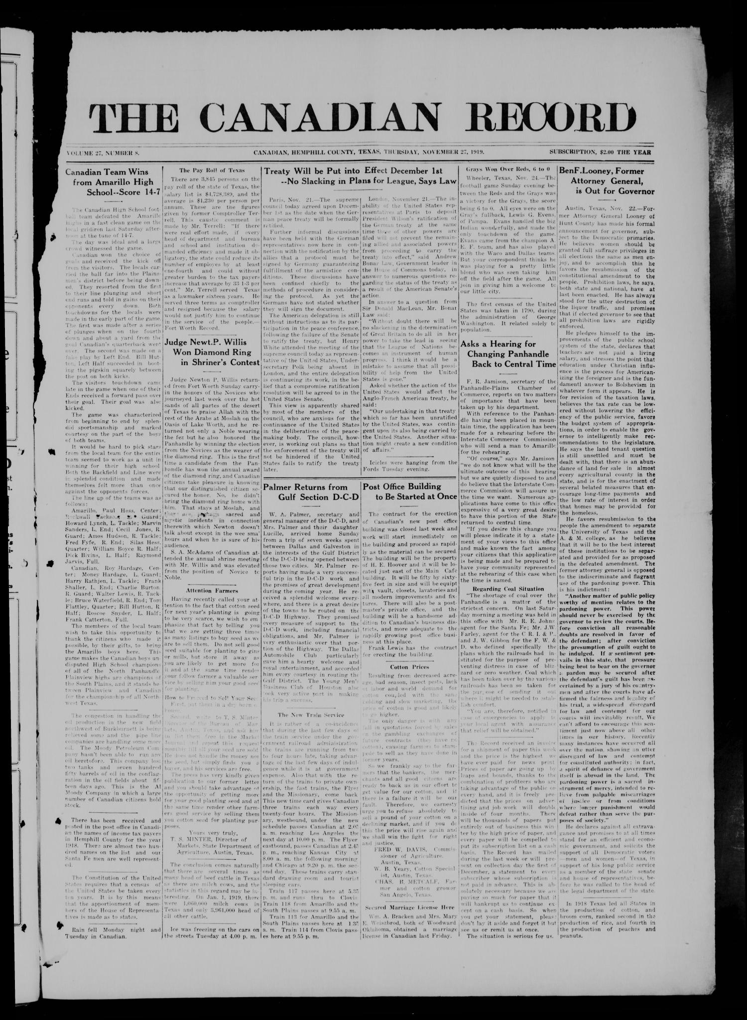 The Canadian Record (Canadian, Tex.), Vol. 27, No. 8, Ed. 1  Thursday, November 27, 1919                                                                                                      [Sequence #]: 1 of 10