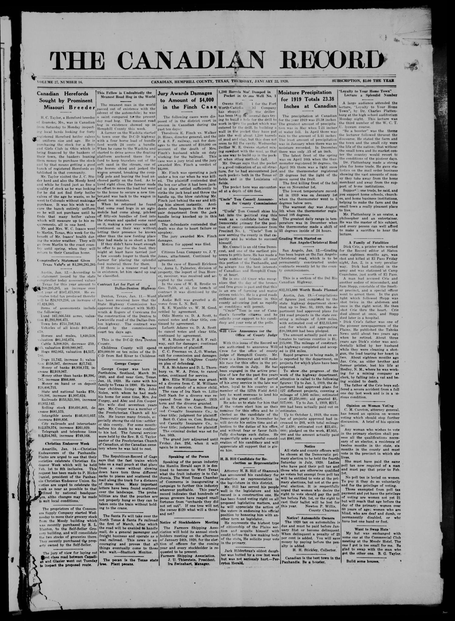 The Canadian Record (Canadian, Tex.), Vol. 27, No. 16, Ed. 1  Thursday, January 22, 1920                                                                                                      [Sequence #]: 1 of 8