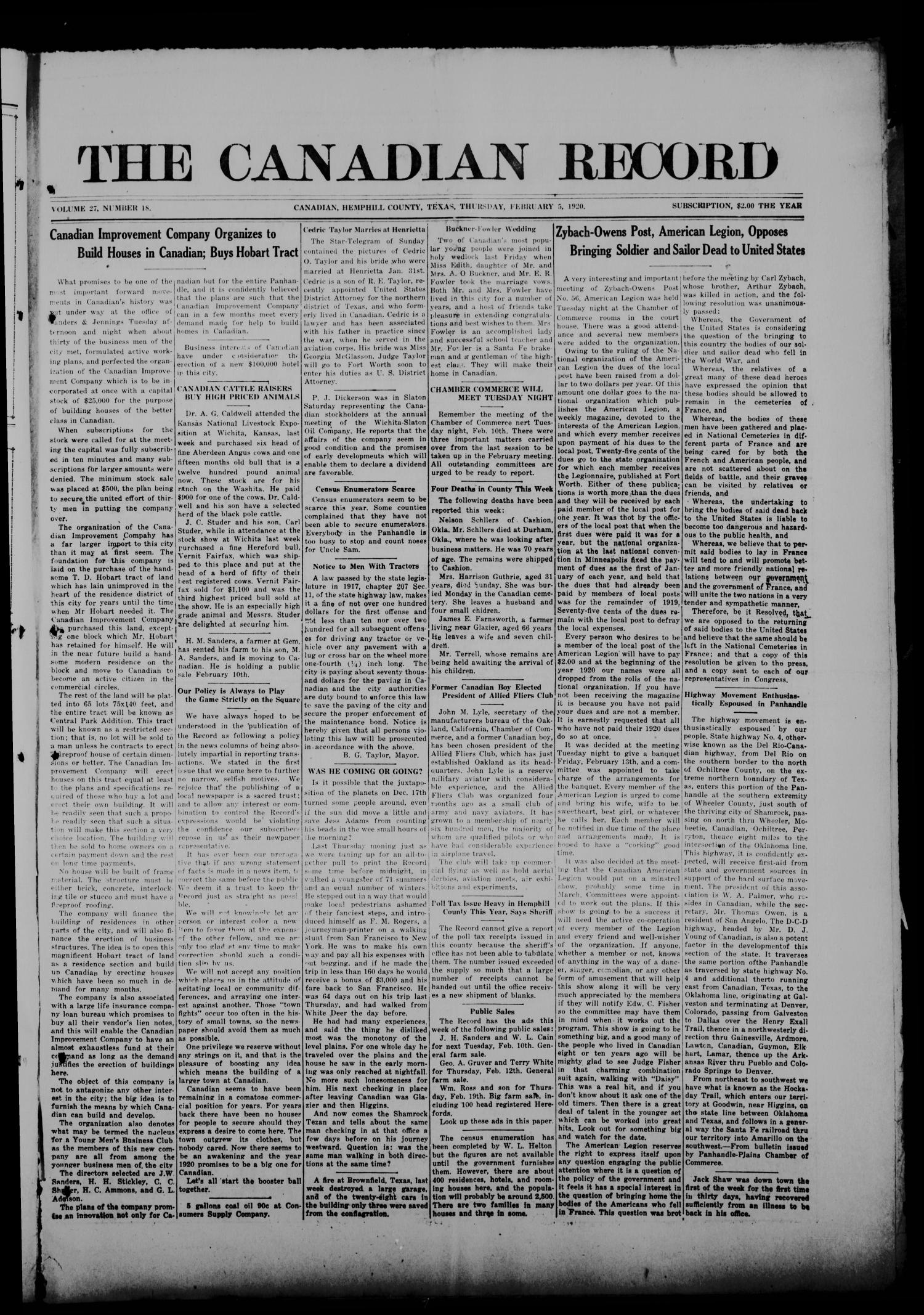 The Canadian Record (Canadian, Tex.), Vol. 27, No. 18, Ed. 1  Thursday, February 5, 1920                                                                                                      [Sequence #]: 1 of 8