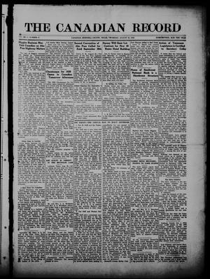 Primary view of object titled 'The Canadian Record (Canadian, Tex.), Vol. 27, No. 47, Ed. 1  Thursday, August 26, 1920'.