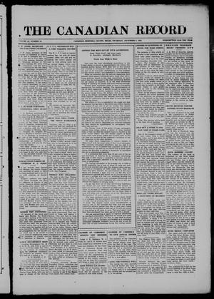 The Canadian Record (Canadian, Tex.), Vol. 28, No. 10, Ed. 1  Thursday, December 9, 1920