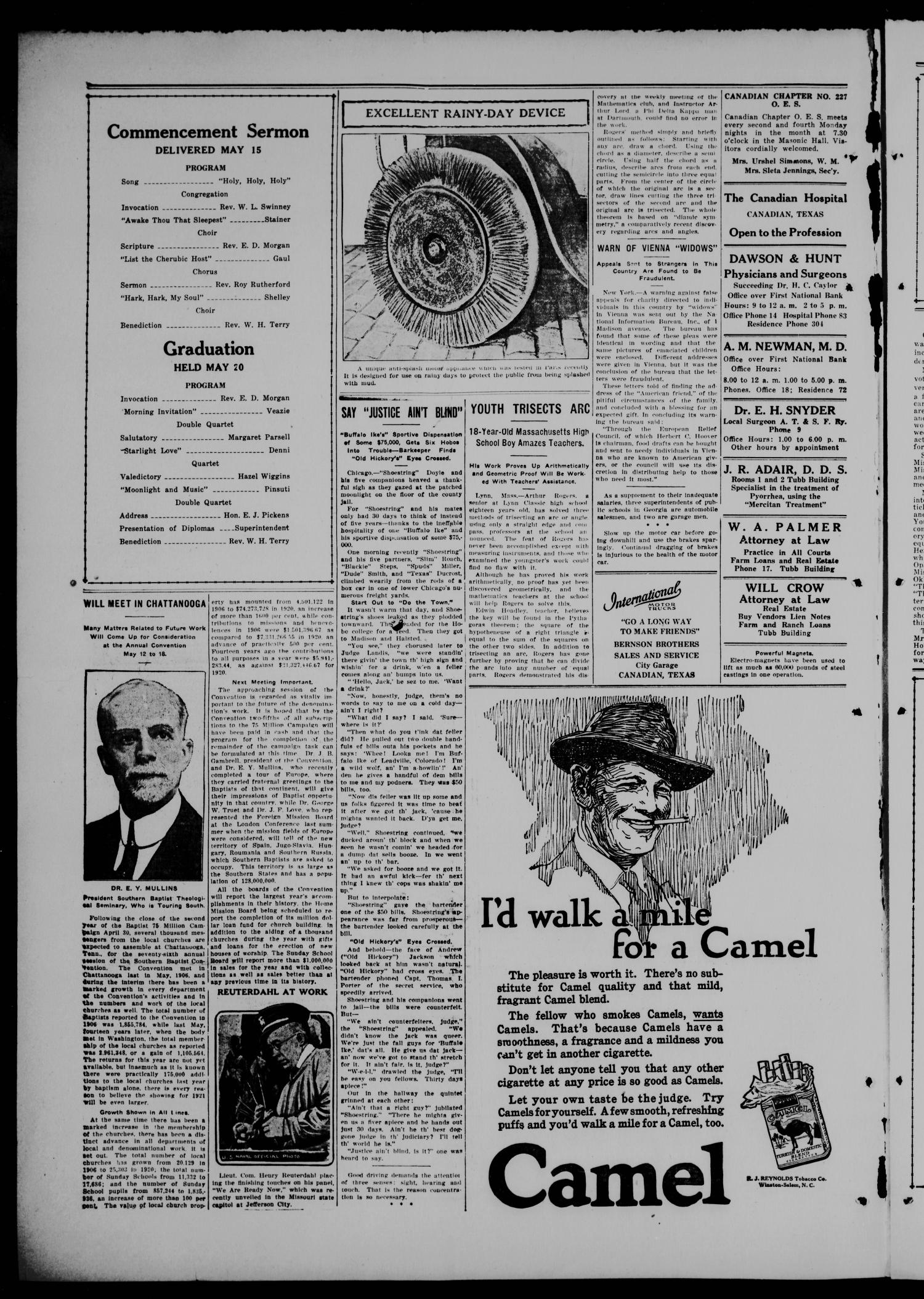 The Canadian Record (Canadian, Tex.), Vol. 28, No. 33, Ed. 1  Thursday, May 19, 1921                                                                                                      [Sequence #]: 2 of 8