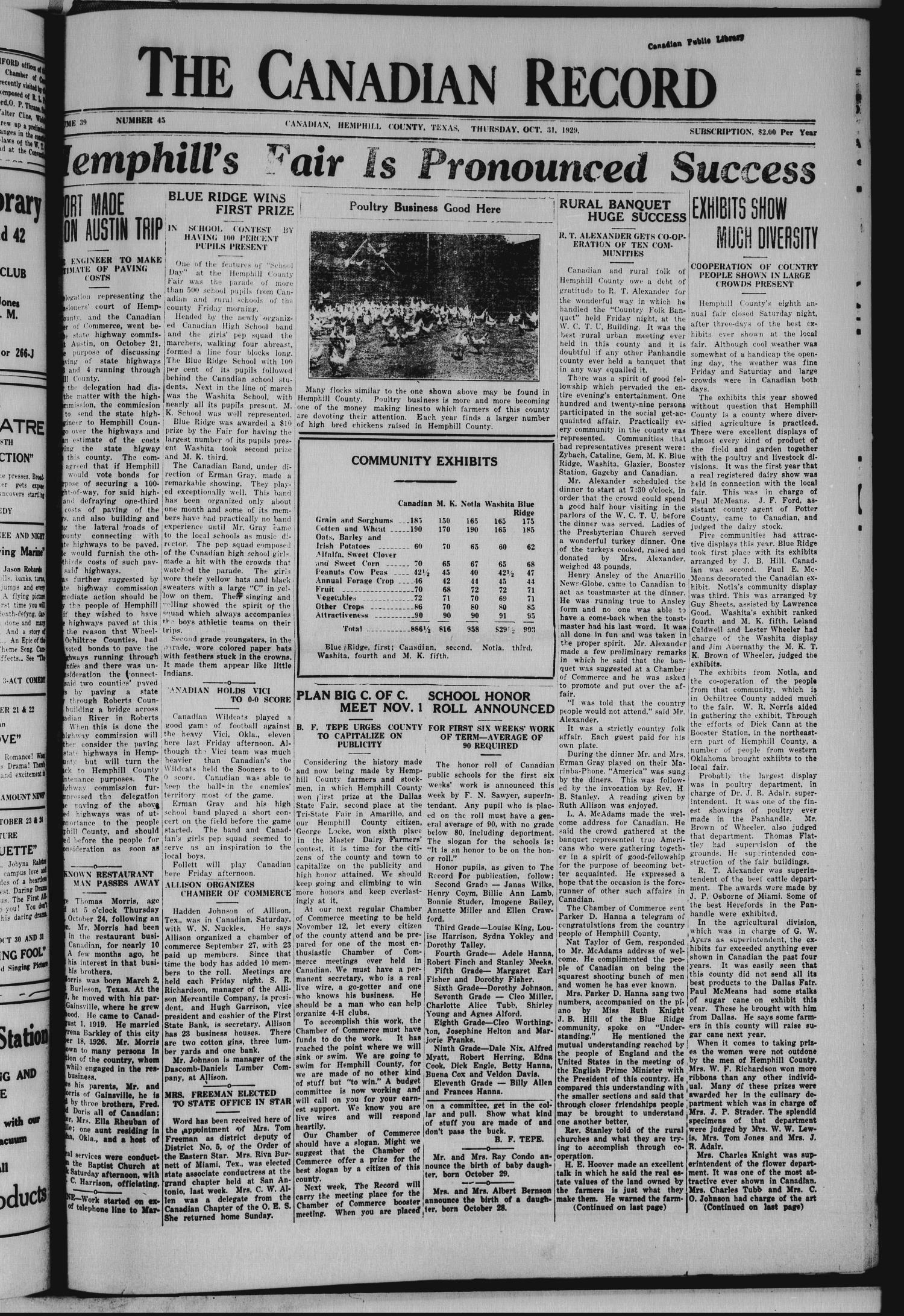 The Canadian Record (Canadian, Tex.), Vol. 39, No. 45, Ed. 1  Thursday, October 31, 1929                                                                                                      [Sequence #]: 1 of 10