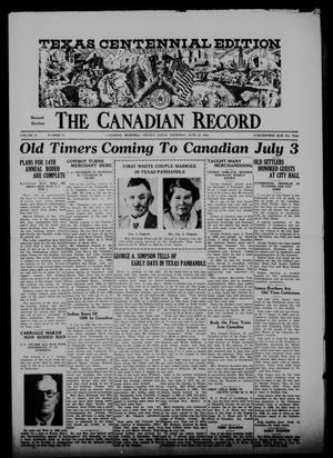 Primary view of object titled 'The Canadian Record (Canadian, Tex.), Vol. 47, No. 28, Ed. 2  Thursday, June 25, 1936'.
