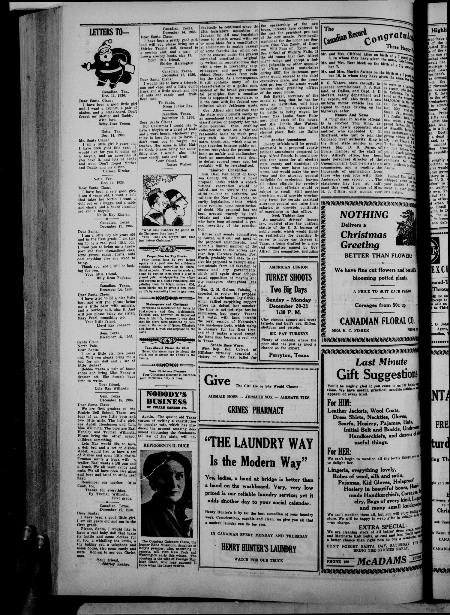 The Canadian Record (Canadian, Tex.), Vol. 48, No. 1, Ed. 1  Thursday, December 17, 1936                                                                                                      [Sequence #]: 4 of 8