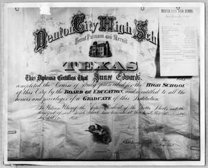 Primary view of object titled 'Annee Edwards' Denton City High School Diploma'.