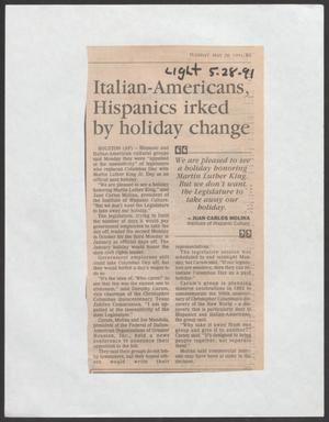 [Clipping: Italian-Americans, Hispanics irked by holiday change]