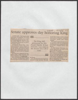 [Clipping: Senate approves day honoring King]