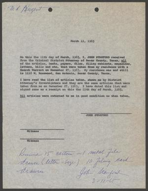 [Document Certifying the Return of John W. Stanford's Property]