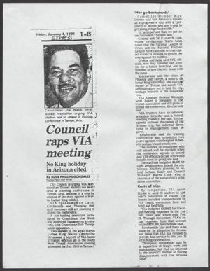 [Clipping: Council [sc]raps VIA meeting]