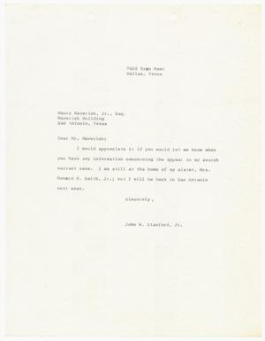 Primary view of [Letter from John W. Stanford to Maury Maverick, Jr.]