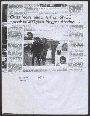 [Clipping: Class hears militants from SNCC speak on 400 year Negro suffering]