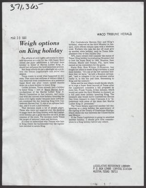 [Clipping: Weigh option on King holiday]