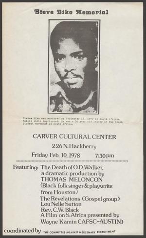 [Flyer for Steve Biko Memorial]