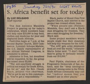 [Clipping: S. Africa benefit set for today]