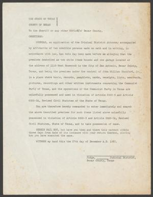 [Search Warrant for John W. Stanford, Jr.'s Residence]