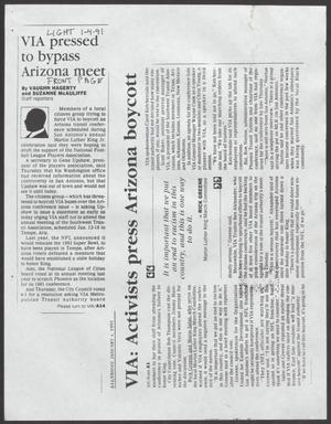 [Clipping: VIA pressed to bypass Arizona meet]