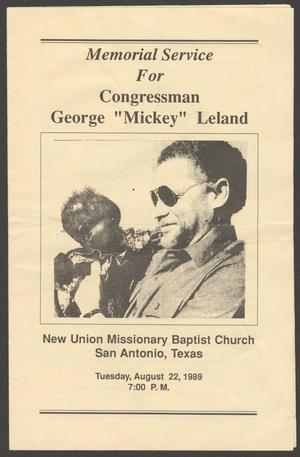 """[Funeral Program for George """"Mickey"""" Leland, August 22, 1989]"""