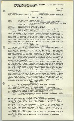 DGS Newsletter, Number 87, May 1986