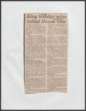 [Clipping: King holiday wins initial House vote]
