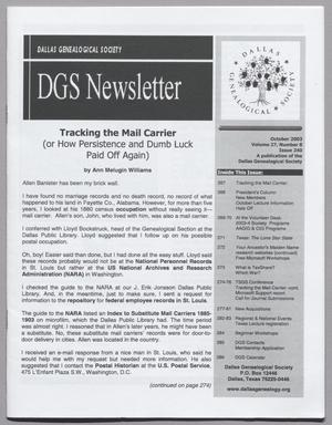 DGS Newsletter, Volume 27, Number 8, October 2003