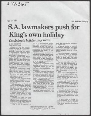 [Clipping: S. A. lawmakers push for King's own holiday]