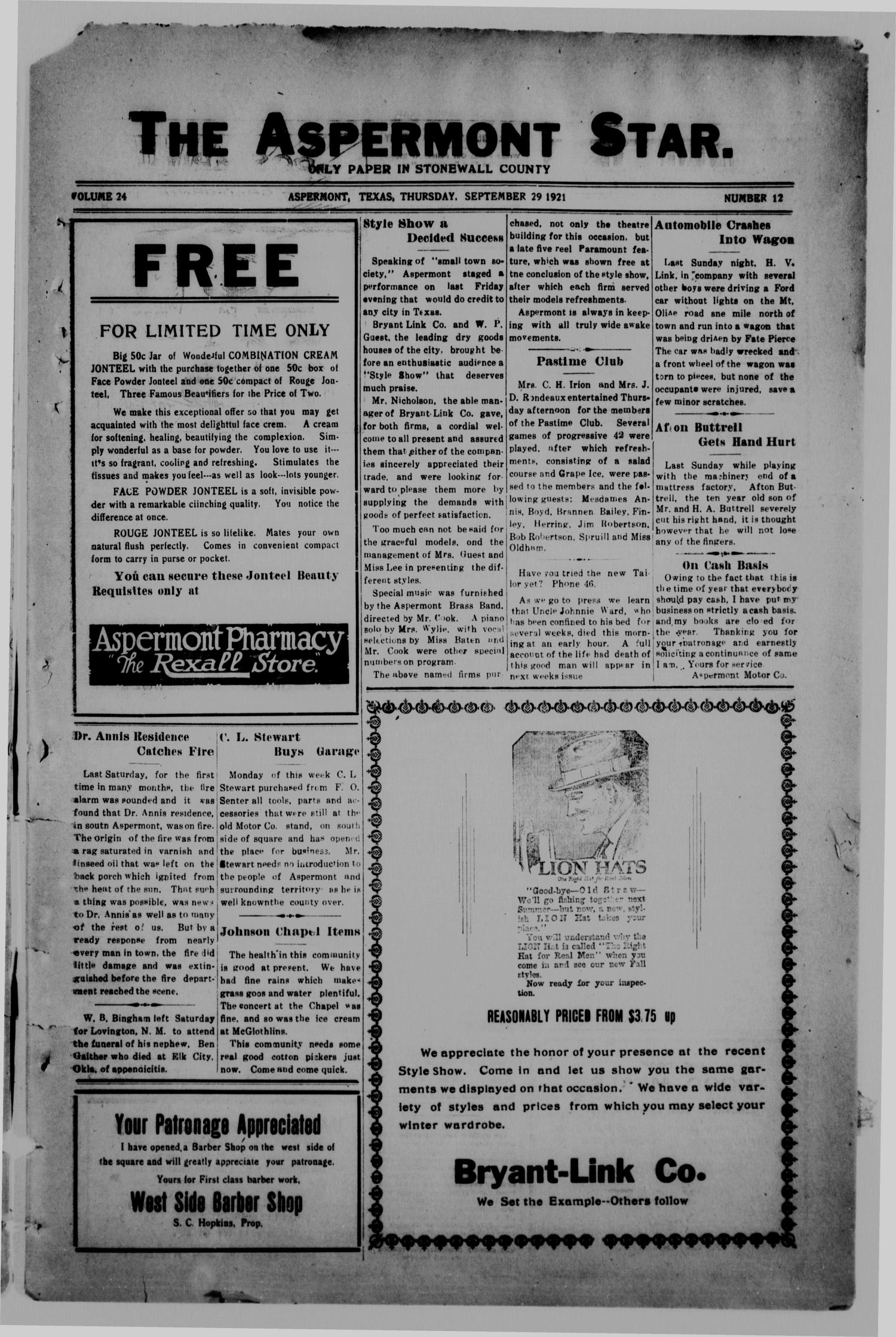 The Aspermont Star (Aspermont, Tex.), Vol. 24, No. 12, Ed. 1  Thursday, September 29, 1921                                                                                                      [Sequence #]: 1 of 8