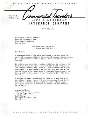 Primary view of [Letter from E. J. Reeves to Truett Latimer, March 20, 1957]