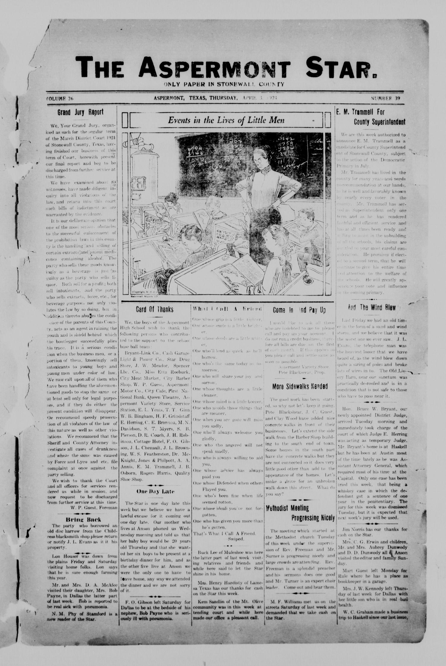 The Aspermont Star (Aspermont, Tex.), Vol. 26, No. 39, Ed. 1  Thursday, April 3, 1924                                                                                                      [Sequence #]: 1 of 8
