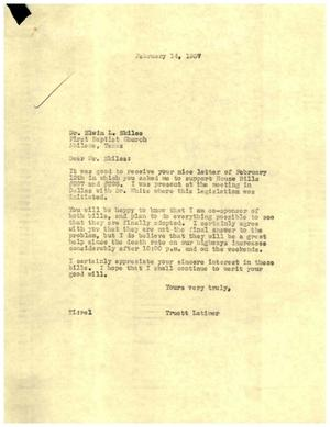 Primary view of [Letter from Truett Latimer to Dr. Elwin L. Skiles, February 14, 1957]