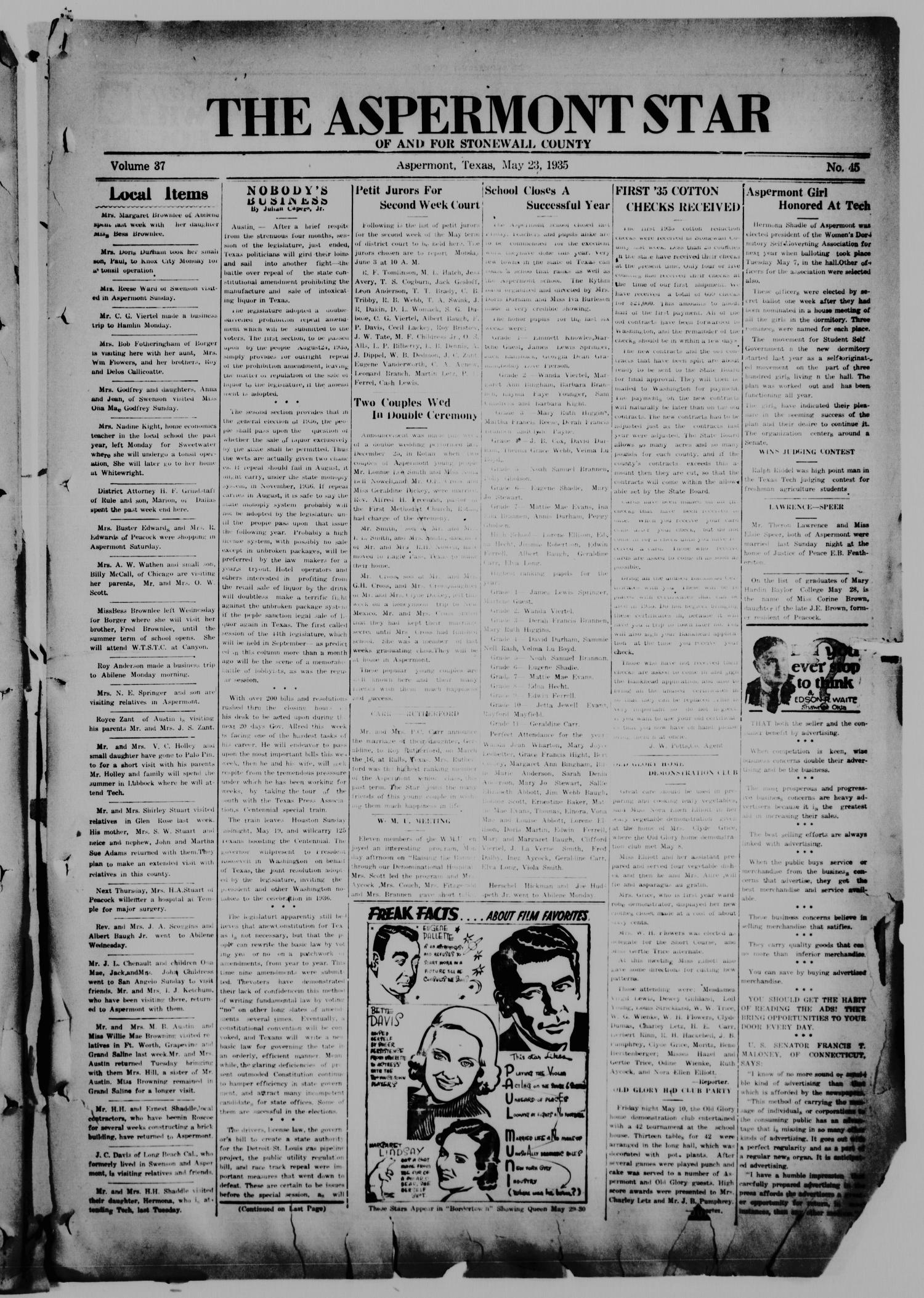 The Aspermont Star (Aspermont, Tex.), Vol. 37, No. 45, Ed. 1  Thursday, May 23, 1935                                                                                                      [Sequence #]: 1 of 8