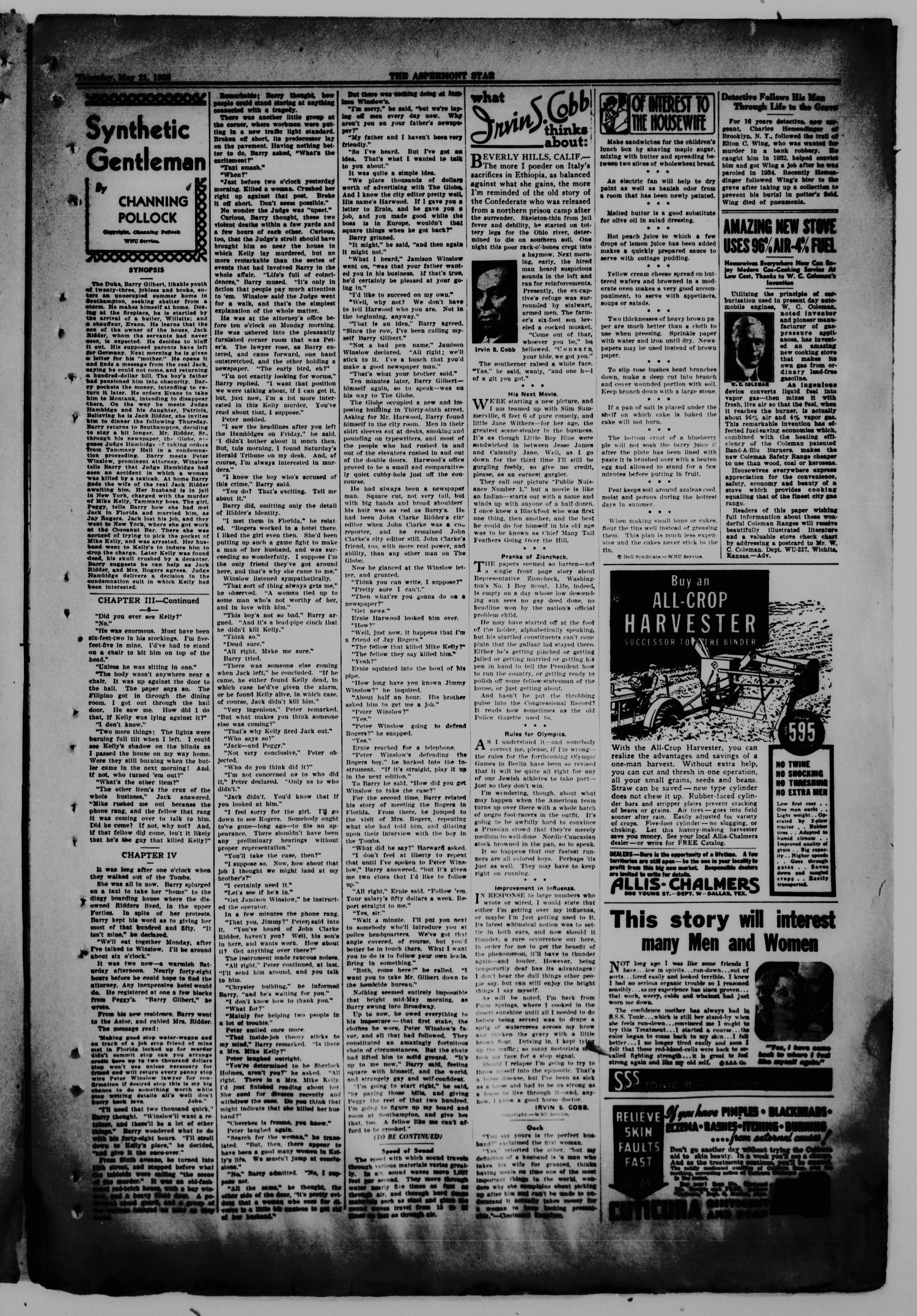 The Aspermont Star (Aspermont, Tex.), Vol. 38, No. 45, Ed. 1  Thursday, May 21, 1936                                                                                                      [Sequence #]: 3 of 8