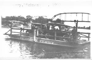 Primary view of object titled '[Automobiles on the Richmond Ferry across the Brazos River]'.