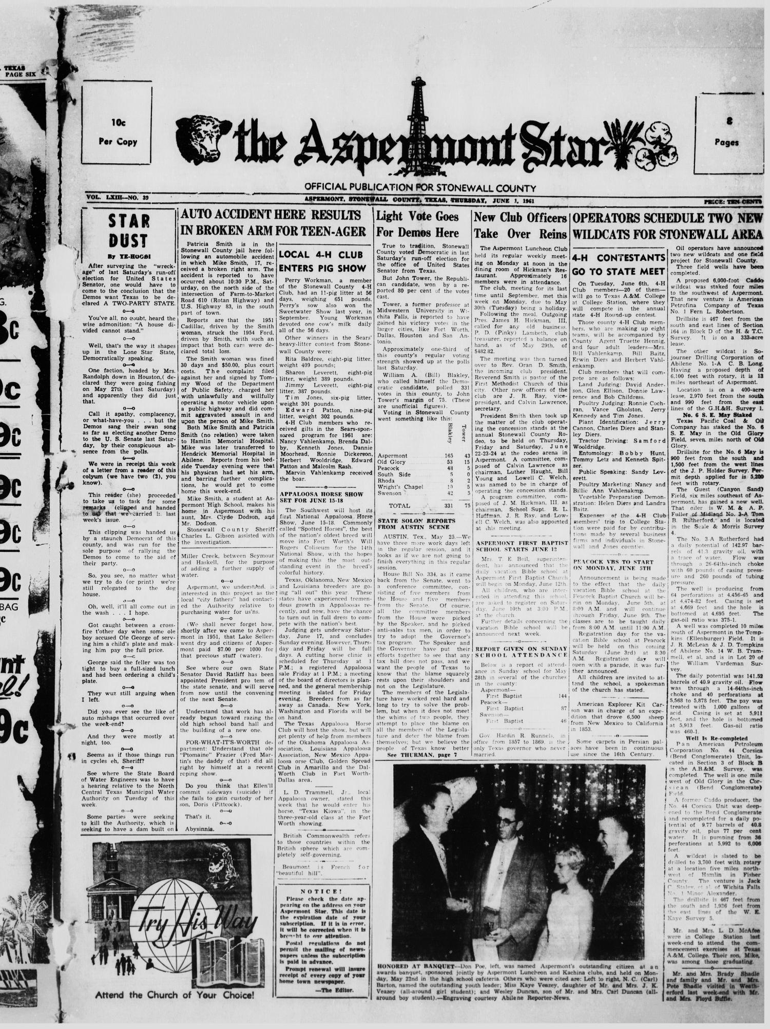 The Aspermont Star (Aspermont, Tex.), Vol. 63, No. 39, Ed. 1  Thursday, June 1, 1961                                                                                                      [Sequence #]: 1 of 8