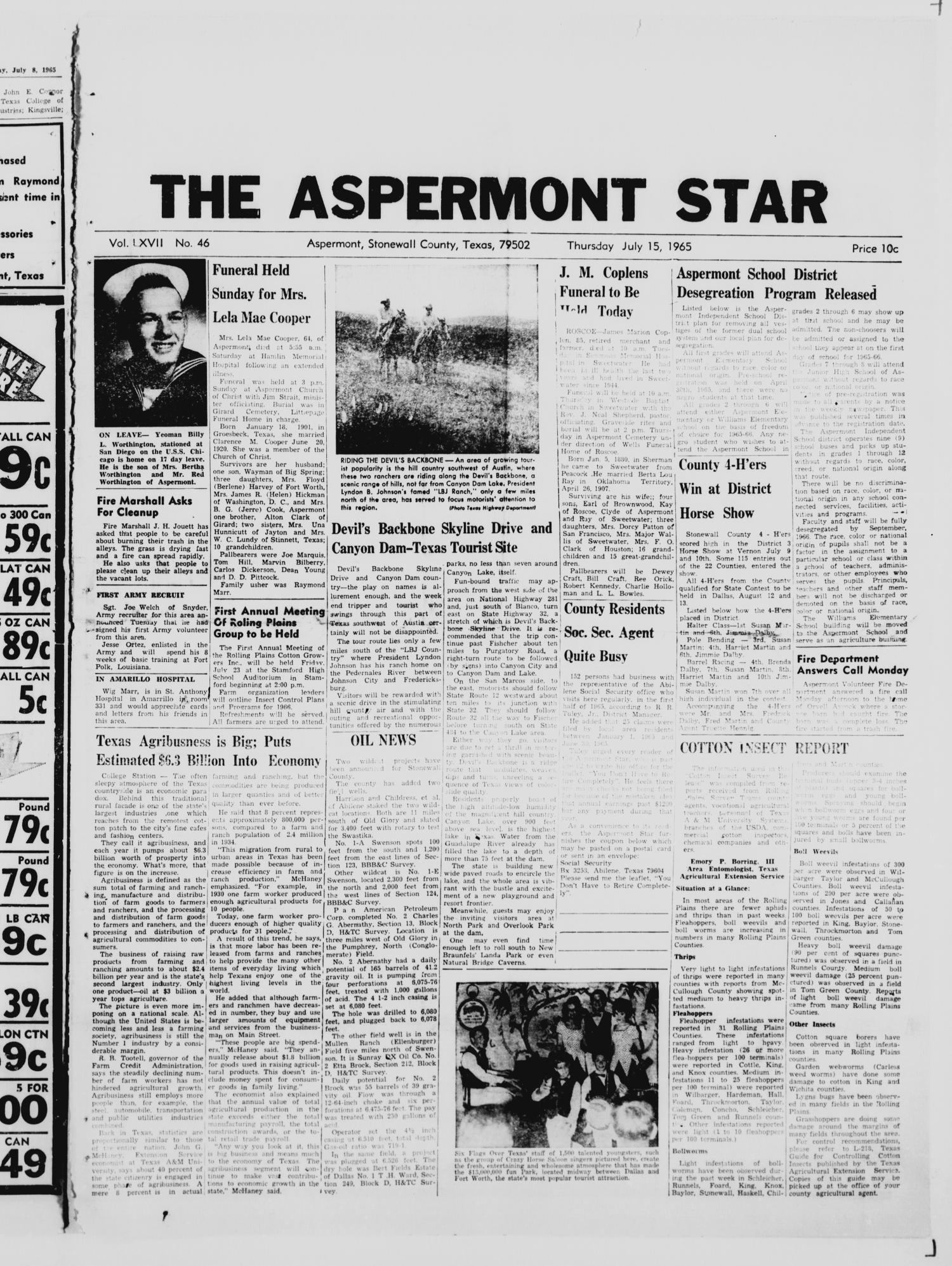 The Aspermont Star (Aspermont, Tex.), Vol. 67, No. 46, Ed. 1  Thursday, July 15, 1965                                                                                                      [Sequence #]: 1 of 6