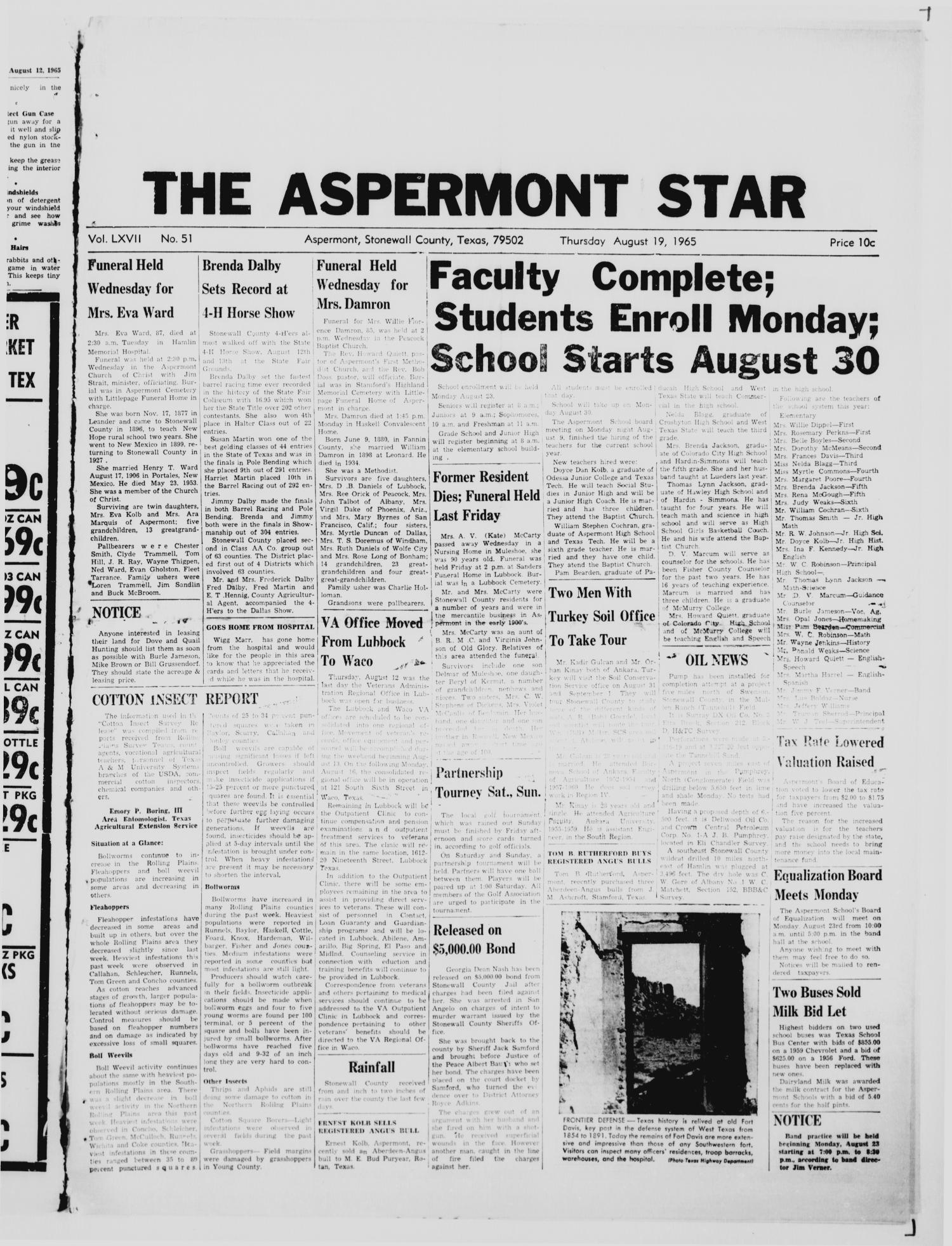 The Aspermont Star (Aspermont, Tex.), Vol. 67, No. 51, Ed. 1  Thursday, August 19, 1965                                                                                                      [Sequence #]: 1 of 8