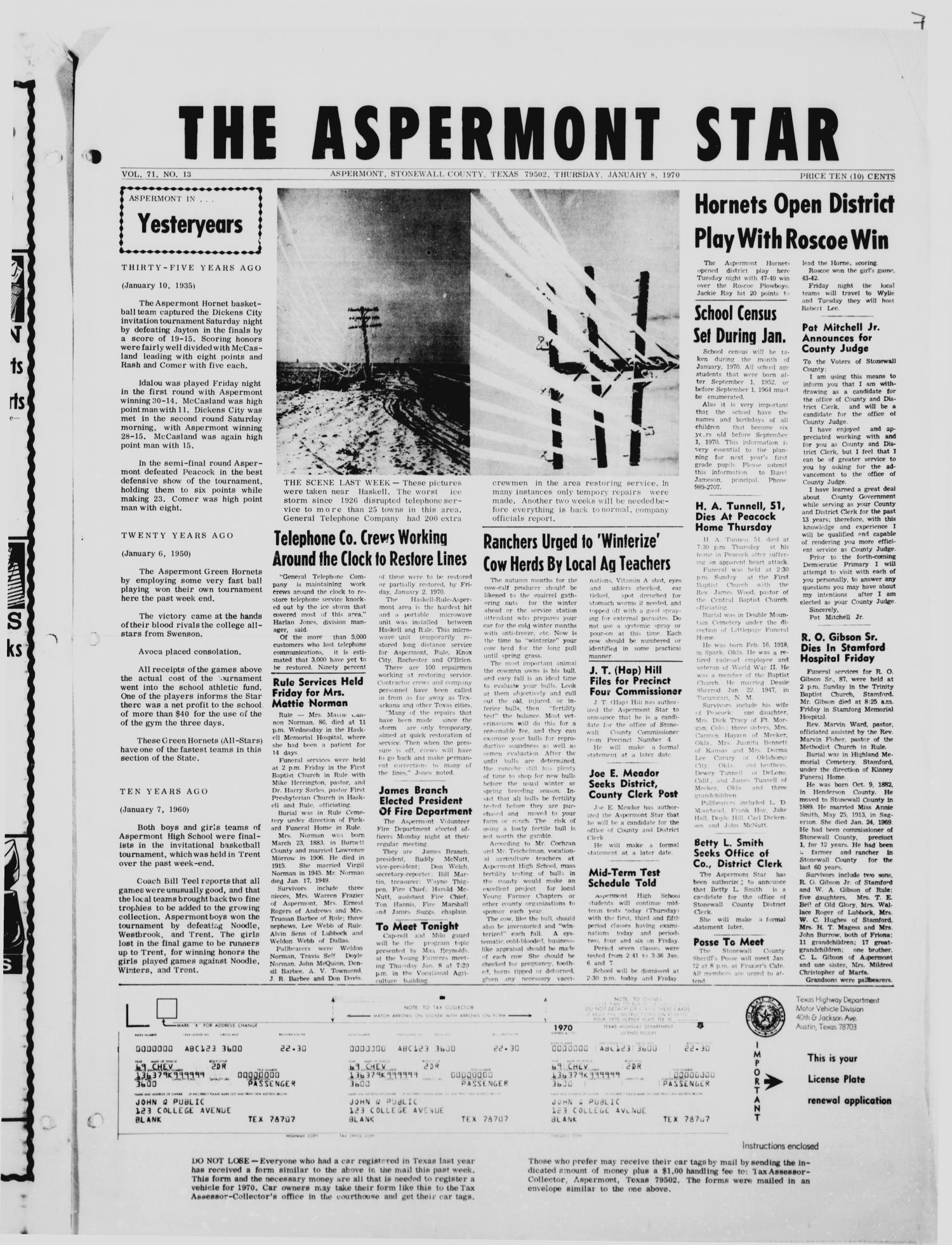 The Aspermont Star (Aspermont, Tex.), Vol. 72, No. 20, Ed. 1  Thursday, January 8, 1970                                                                                                      [Sequence #]: 1 of 4