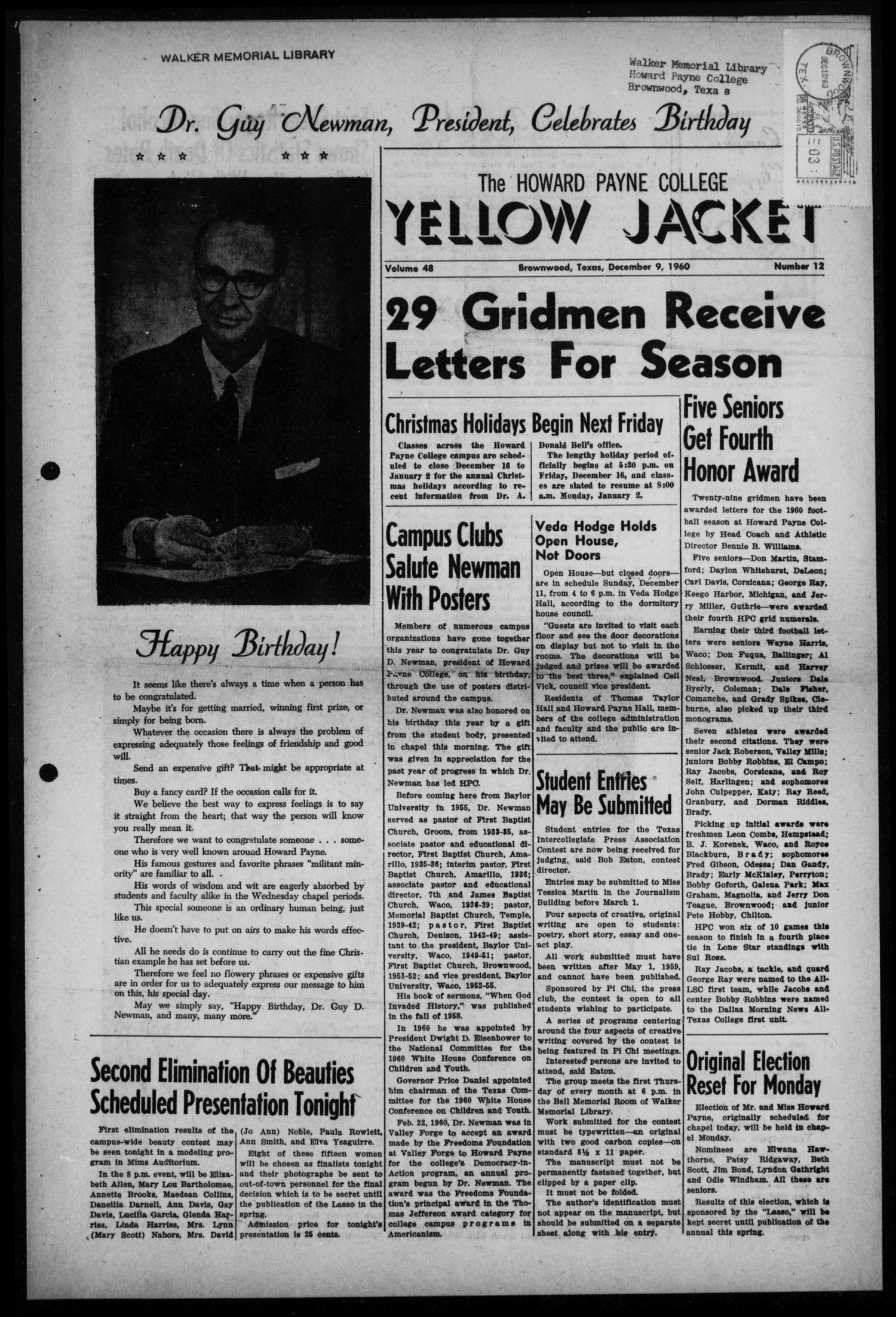 The Howard Payne College Yellow Jacket (Brownwood, Tex.), Vol. 48, No. 12, Ed. 1  Friday, December 9, 1960                                                                                                      [Sequence #]: 1 of 4